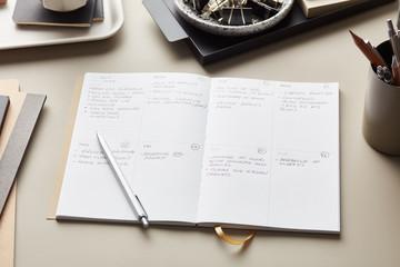 Handwritten notes in weekly planner