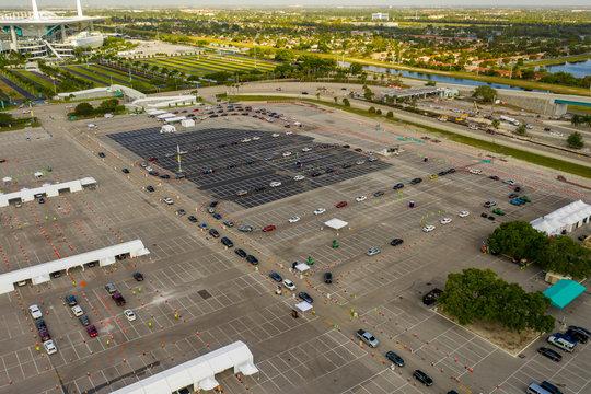 Aerial photo Coronavirus Covid 19 testing site Miami Hard Rock Stadium parking lot