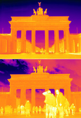 A combination photo shows the Brandenburg Gate during the coronavirus disease (COVID-19) outbreak and before taken with thermal imaging camera in Berlin.