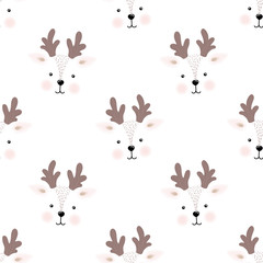 Seamless pattern cute fawn face, vector illustration
