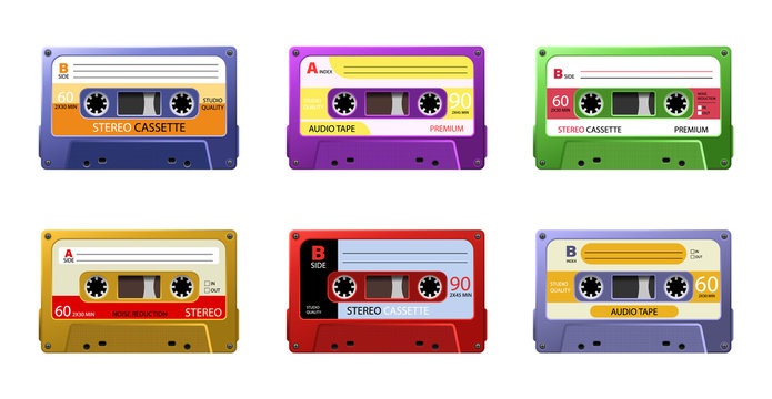 Retro cassettes. Vintage 1990s music tape, dj rave party mix. Vintage tape cassette. Retro mixtape, 80s pop songs tapes and stereo music cassettes.