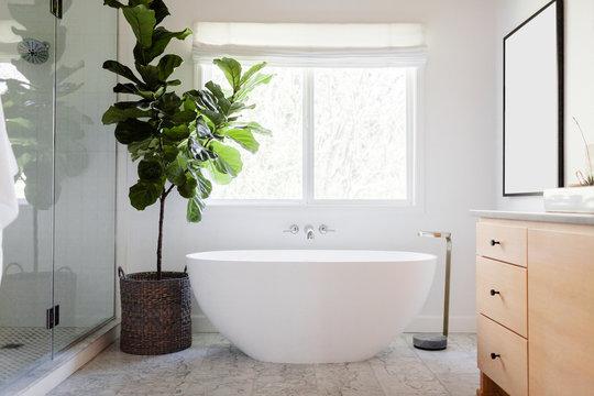 Natural Wood in Modern Master Bathroom