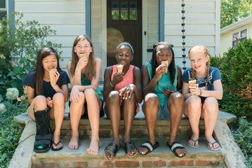 Teen Girls Enjoying Ice Cream