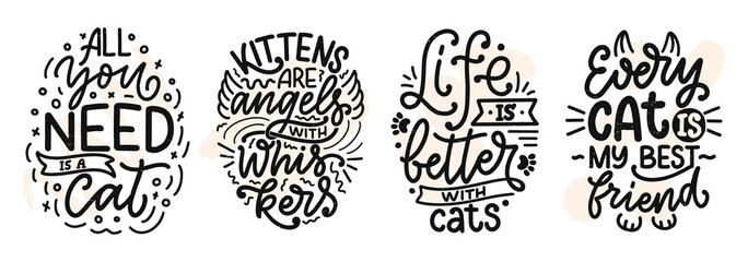 Poster Positive Typography Set with funny lettering quotes about cats for print in hand drawn style. Creative typography slogans design for posters. Cartoon vector illustration.