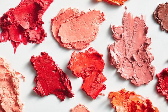 Smears of colorful lipsticks