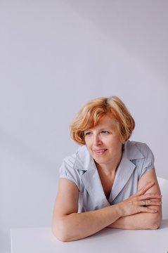 Studio portrait of real mature woman