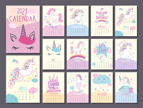 Monthly calendar template 2021 with cute unicorn characters