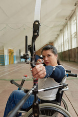 Confident Disabled Woman Shooting Bow