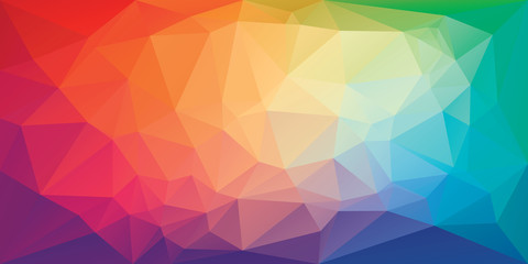 Low poly triangular background in bright rainbow colors. Colorful polygonal banner template. Multicolor backdrop in origami style. Vector eps8 illustration with irregular triangles. Fotobehang
