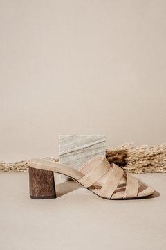 Beige mule sandals