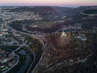 Old bulgarian church in a Fortress aerial medieval stronghold Veliko Tarnovo