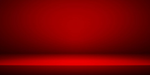 Empty red studio room interior. Clean workshop for photography or presentation. Vector illustration Wall mural