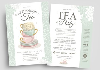 Afternoon Tea Flyer Layout with Pastel Watercolor Illustrations