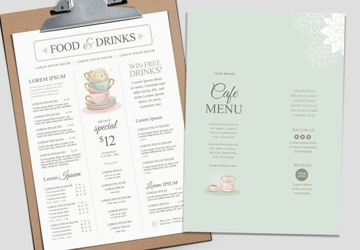 Afternoon Tea Menu Layout with Pastel Watercolor Illustrations