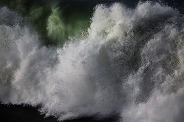 A big wave exploding on the Basque Country of Spain.