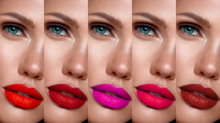 Collection: eyes and lips red, purple hues. The palette of lipsticks. Close-up Wall mural