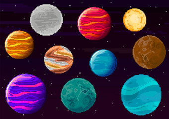 Set of pixel planets for game. Vector of starry sky in retro pixel art style. Planet, Jupiter, spaceship. Pixel art game location. 8 bit background.