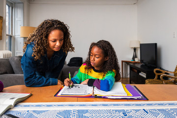 Mother assisting daughter in doing homework at table in living room