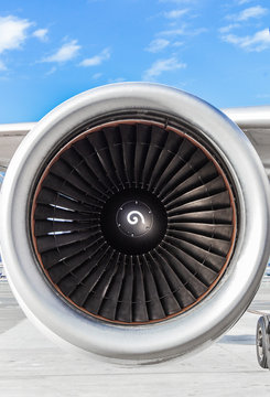 Turbine jet engine on an airliner view from the front