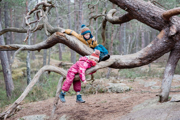 brother and sister climbing trees together outside in Sweden