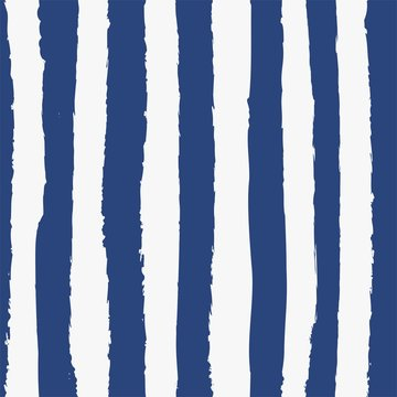 Universal unisex dark navy blue nautical marine coastal seamless repeat pattern with grunge torn texture jagged vector cabana stripe