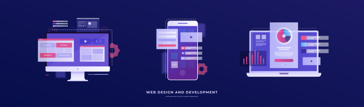 Set of vector illustrations on the theme of web design and development. Smartphone, laptop, and monitor with interface elements on a blue background. Mobile app development concept.