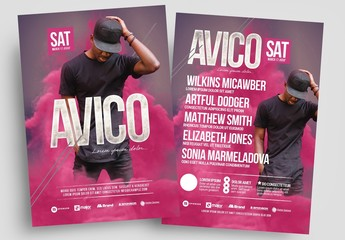 Event Flyer Layout with Pink Fog Elements