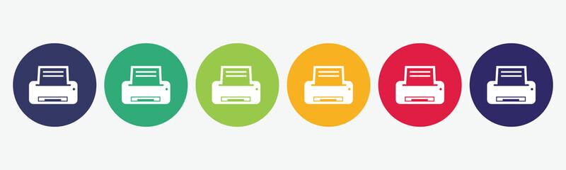 Printer flat icon set.