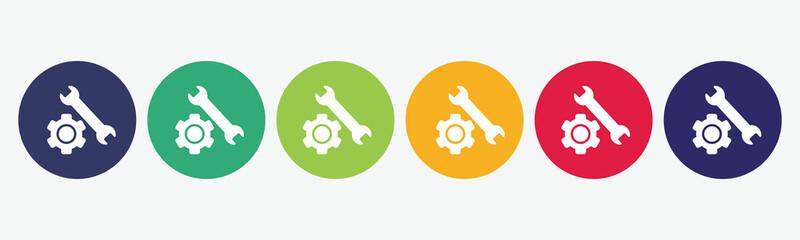 Vector repair tools flat icon set.