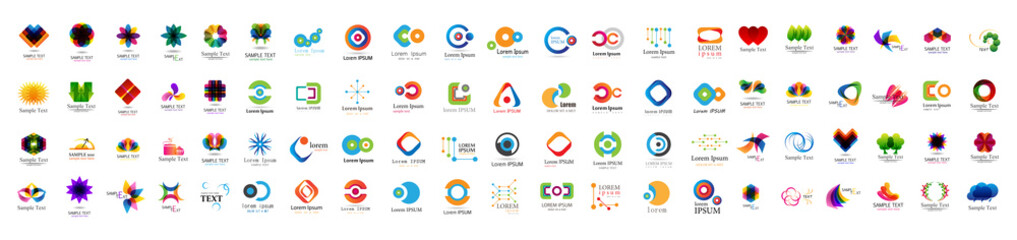 Abstract Logo And Icon Set. Elements Collection Isolated On White - Vector. Flat Icons For Business Template Logo, Square Elements, Website, Business Symbol And Circle Elements. Abstract Medical Logo