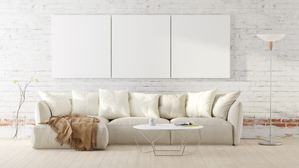 Living room with a white couch, table, floor lamp and mockup pictures. 3D render illustration.