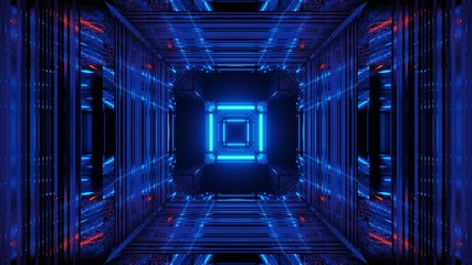 Fototapeta Abstract science fiction futuristic background with blue neon lights