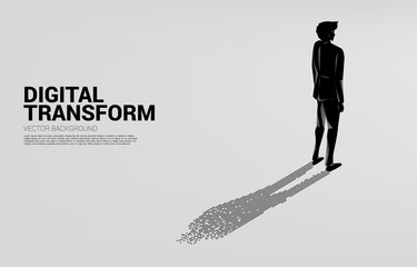 Businessman with shadow from digital dot pixel. business concept of digital transformation and digital footprint. Wall mural