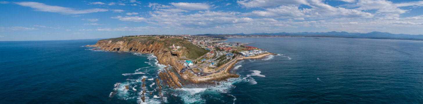 Panoramic views of the stunning holiday town of Mosselbay in the Garden Route of South Africa
