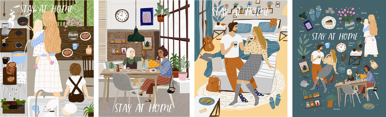 Stay at home! Set posters of Coronavirus quarantine, self isolation. Mother and kids cooking at kitchen, couple or family staying together comfort, safety. Vector illustration banner, card, postcard Wall mural