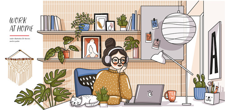 Work at home! Vector cute illustration of Coronavirus quarantine, self isolation. Woman working laptop in comfortable workplace, modern interior, cat, decor and plants. Drawings of home Office