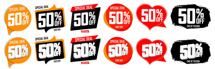 Set Sale 50 off banners, discount tags design template, vector illustration