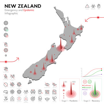 Map of New Zealand Epidemic and Quarantine Emergency Infographic Template. Editable Line icons for Pandemic Statistics. Vector illustration of Virus, Coronavirus, Epidemiology protection. Isolated