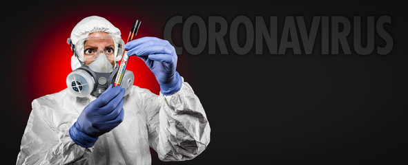 Banner of Female Doctor or Nurse In Medical Protective Gear Holding Positive Coronavirus Test Tube...
