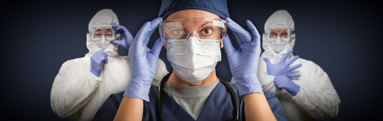 Team of Female and Male Doctors or Nurses Wearing Protective Medical Face Masks and Goggles Banner