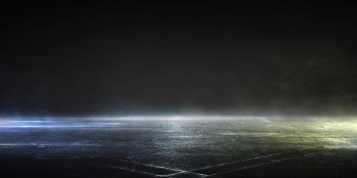 3D rendering wet asphalt of neon lights dark background scene of empty street.