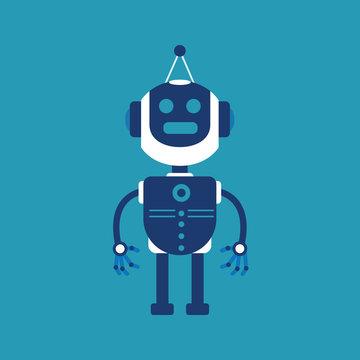 Cute blue robot character vector