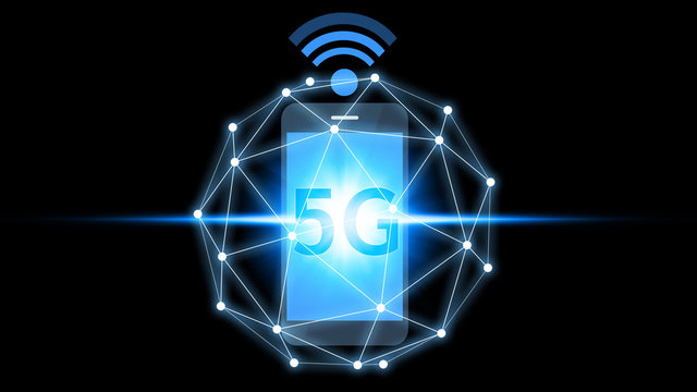 Smartphone connection 5G icon technology, Smartphone using 5G technology with virtual screen icon, Technology Internet 5G global network concept.