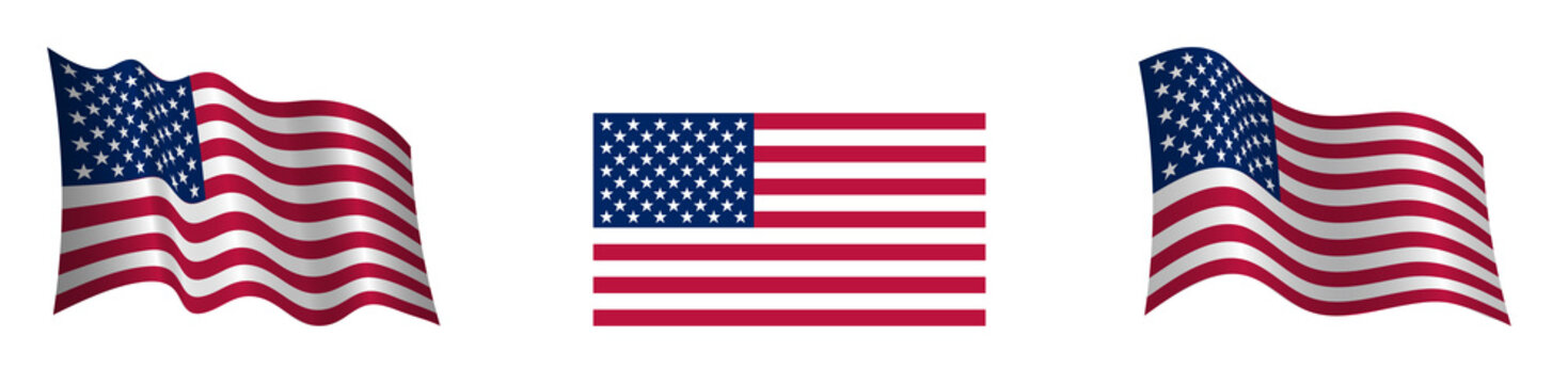 American flag in a static position and in motion, developing in the wind, on a transparent background
