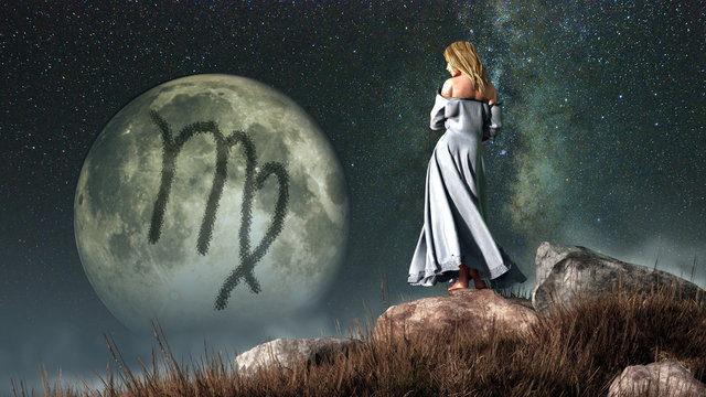 Virgo, the virgin or maiden, is the sixth sign of the Zodiac. People born between August 22nd and September 22nd have this astrological sign. 3D rendering.