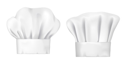 Chef hats, realistic 3d cook cap and baker toque. White chef hats vector design of bakery, pastry and restaurant uniform headwear, professional clothing of kitchen staff