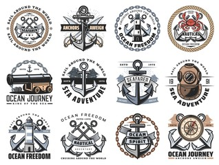 Nautical icons of sea travel and ocean adventure vector design. Ship anchor, rope and chain, marine sail boat, compasses and diving helmet, lighthouse, sailor sword and naval cannon heraldic badges
