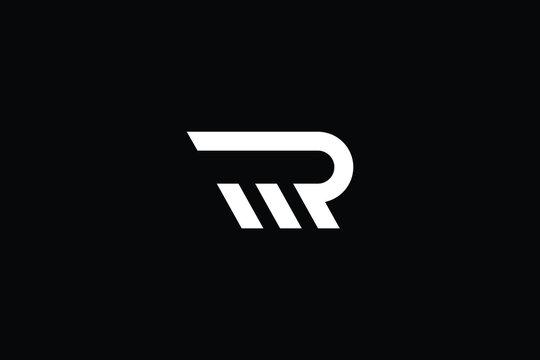 Minimal elegant monogram art logo. Outstanding professional trendy awesome artistic RM MR RW WR initial based Alphabet icon logo. Premium Business logo White color on black background