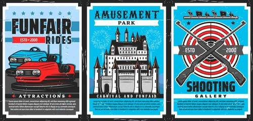 Amusement park rides, shooting gallery, carnival and funfair castle vector design of entertainment industry. Amusement park attractions poster with fairground bumper cars, pellet guns, targets, palace