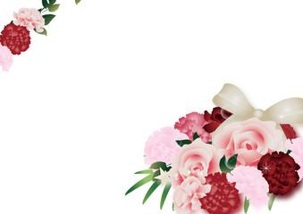 母の日カーネーションとバラのフラワーアレンジメントのイラストとゴールドのリボン横スタイル背景素材